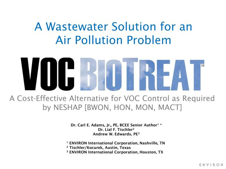 a wastewater solution for an air pollution problem n.