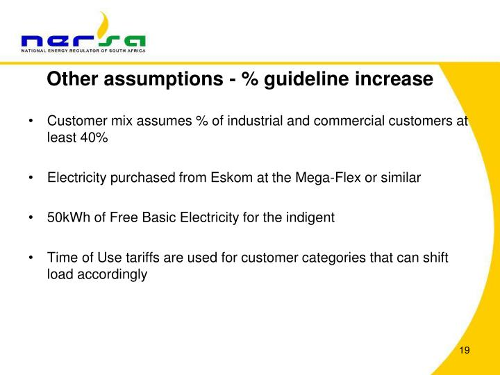 Other assumptions - % guideline increase