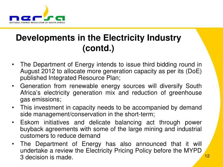 Developments in the Electricity Industry