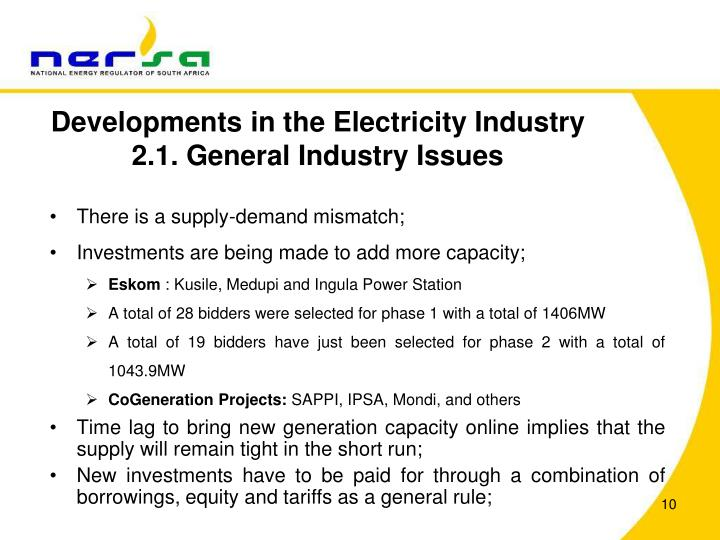 Developments in the Electricity