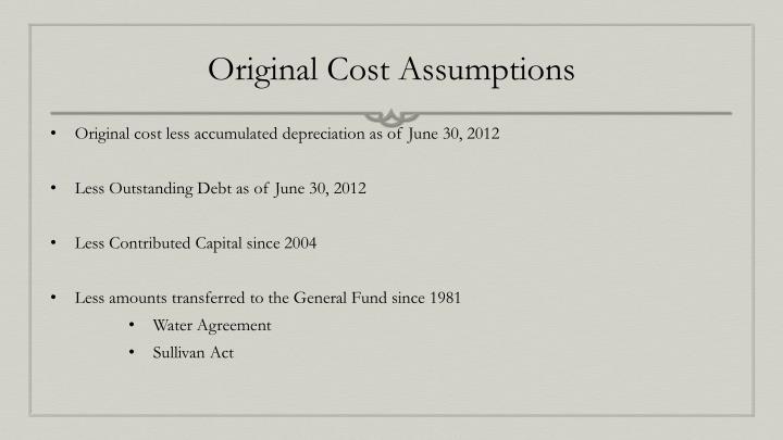Original Cost Assumptions