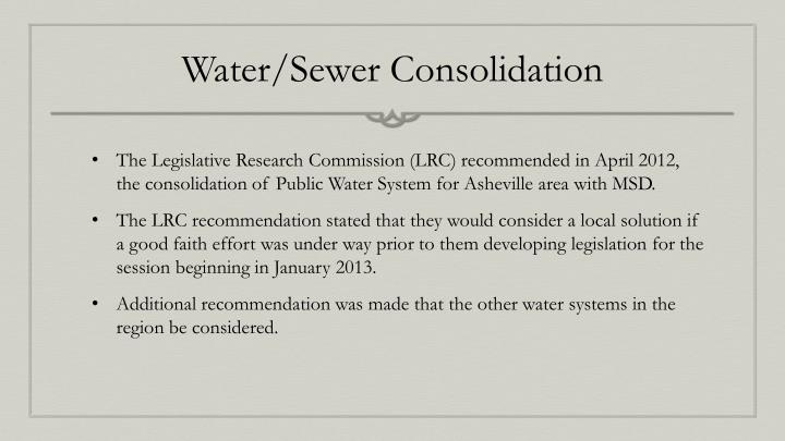 Water sewer consolidation