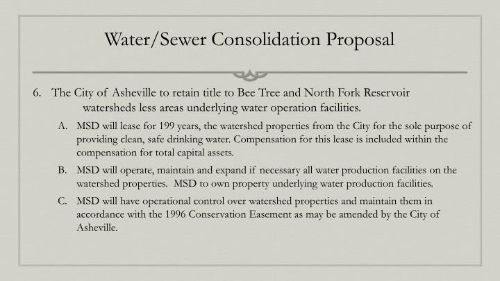 Water/Sewer Consolidation Proposal