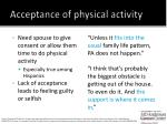 acceptance of physical activity