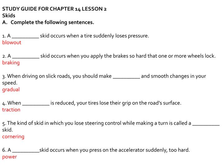 ppt environmental challenges study guide for chapter 14 lesson 1 rh slideserve com responsible driving study guide chapter 9 responsible driving study guide chapter 7