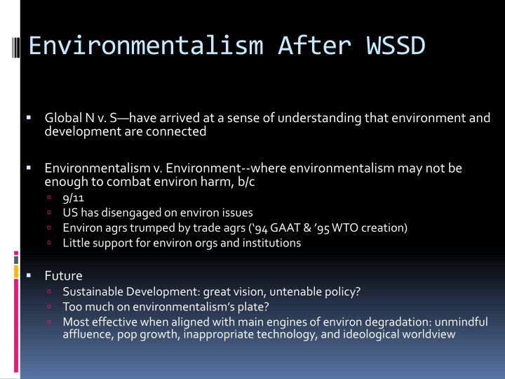 Environmentalism After WSSD