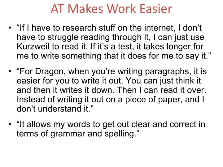 AT Makes Work Easier