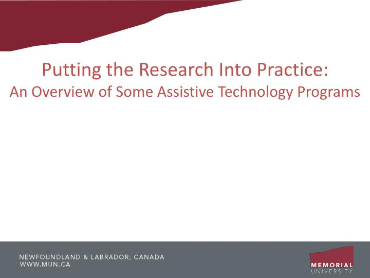 Putting the Research Into Practice: