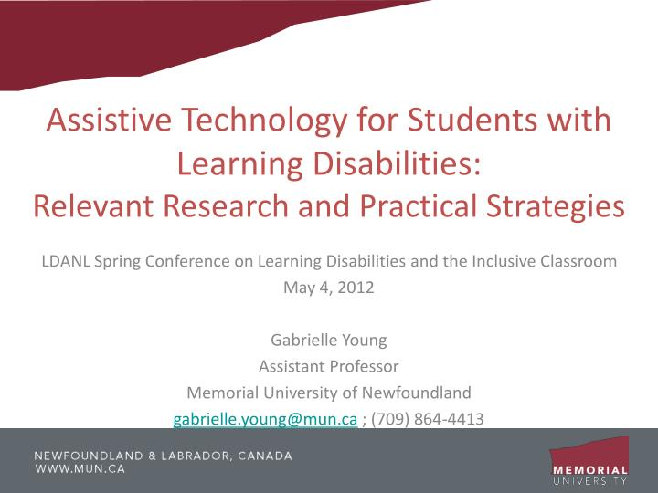 Assistive Technology for Students with Learning Disabilities: