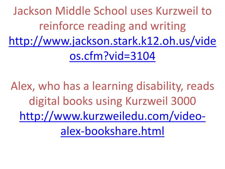 Jackson Middle School uses Kurzweil to reinforce reading and writing