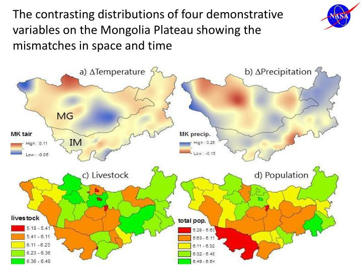 The contrasting distributions of four demonstrative variables on the