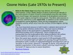 ozone holes late 1970s to present