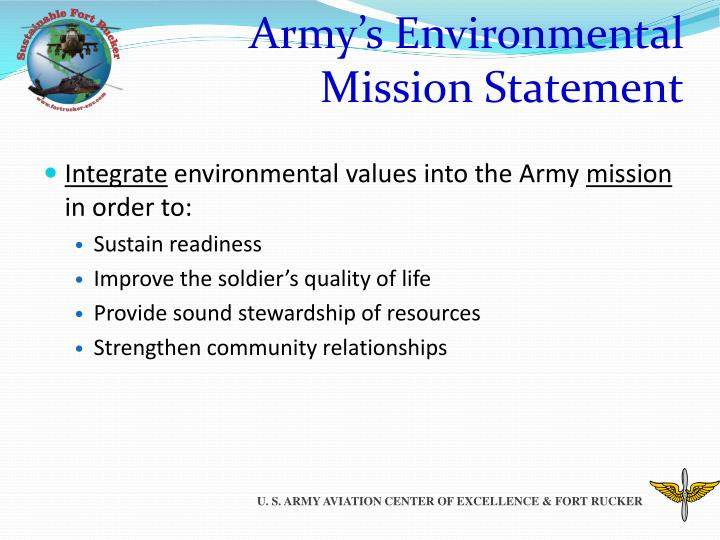 Army s environmental mission statement
