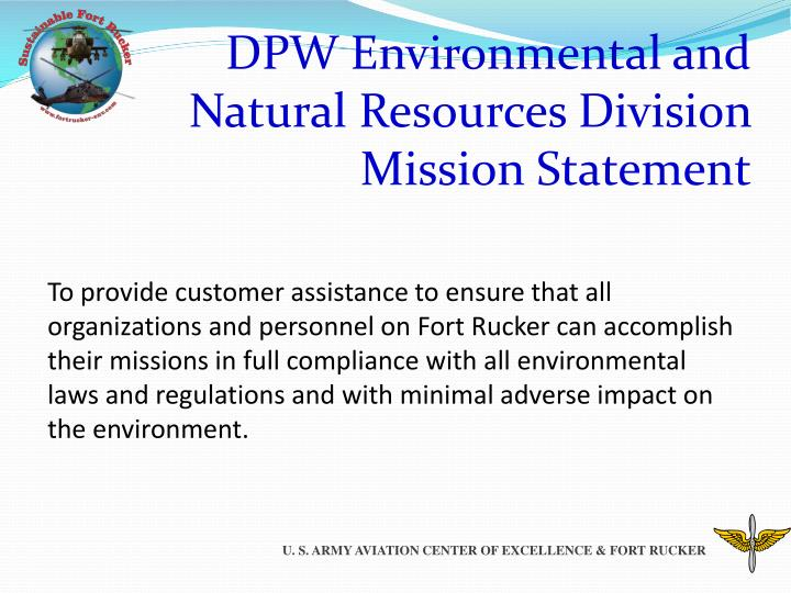 Dpw environmental and natural resources division mission statement