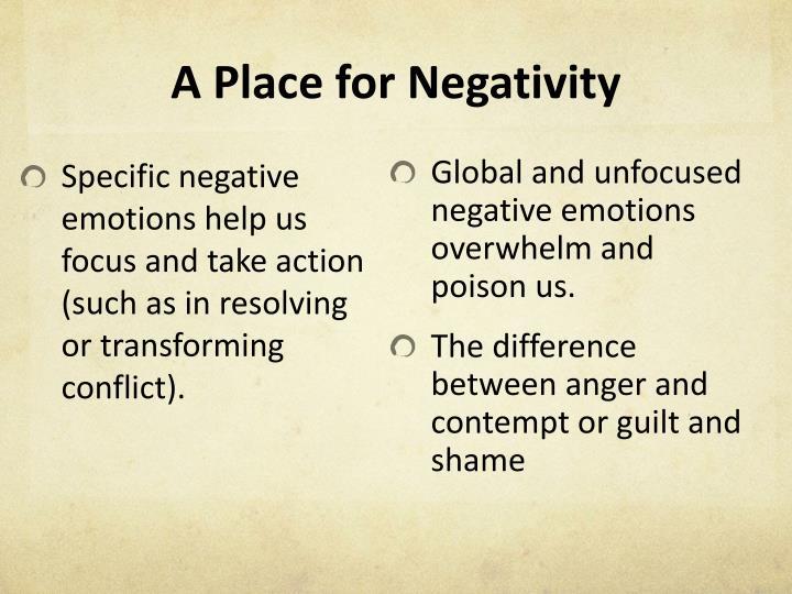 A Place for Negativity