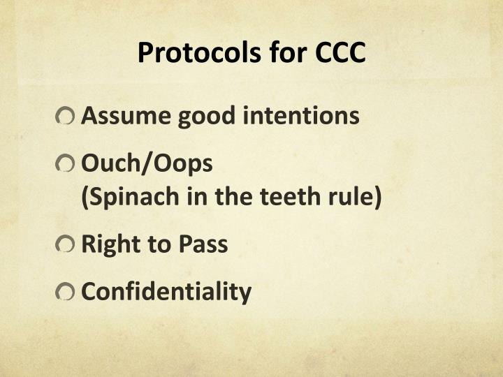 Protocols for ccc