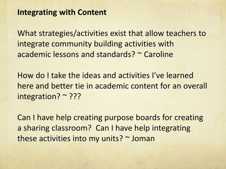Integrating with Content