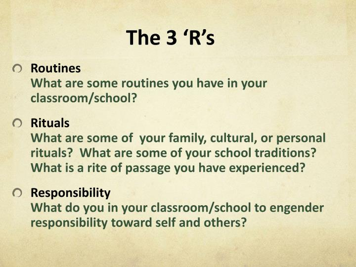 The 3 'R's