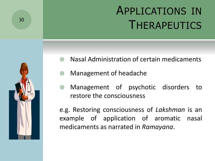 Applications in Therapeutics