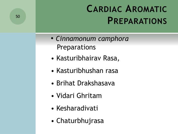 Cardiac Aromatic Preparations