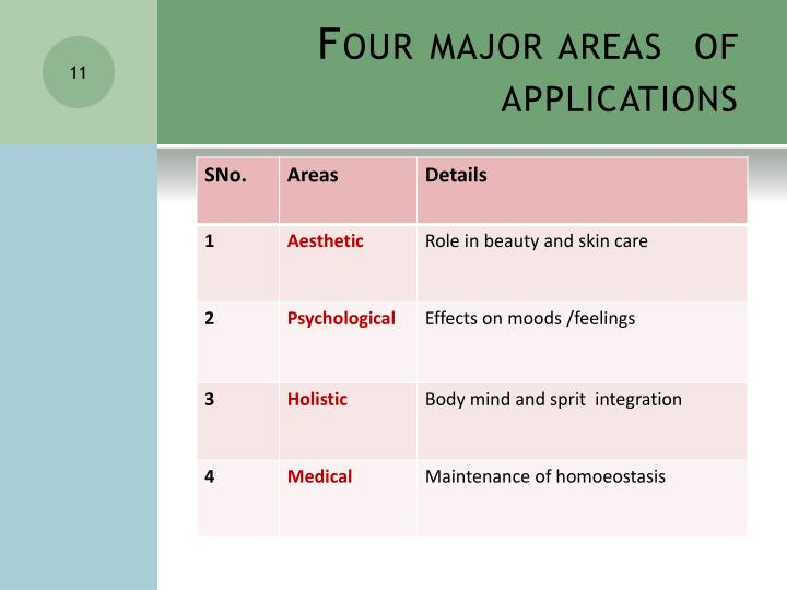 Four major areas  of applications