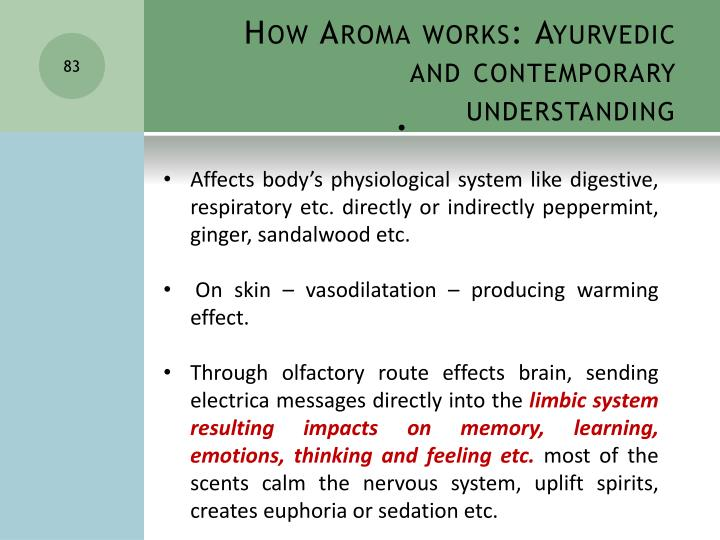 How Aroma works: Ayurvedic and contemporary  understanding