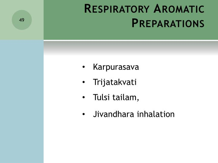 Respiratory Aromatic Preparations
