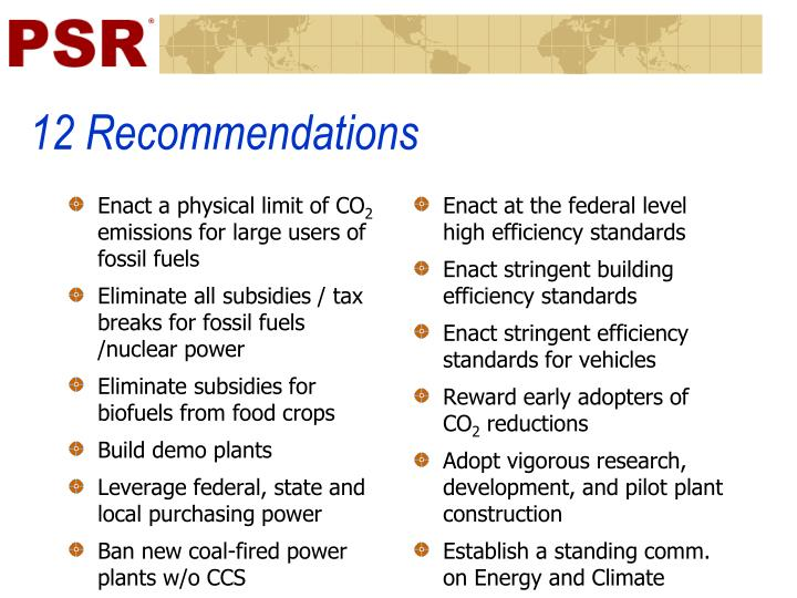 12 Recommendations