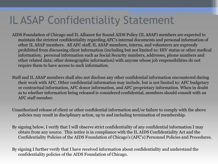 IL ASAP Confidentiality Statement