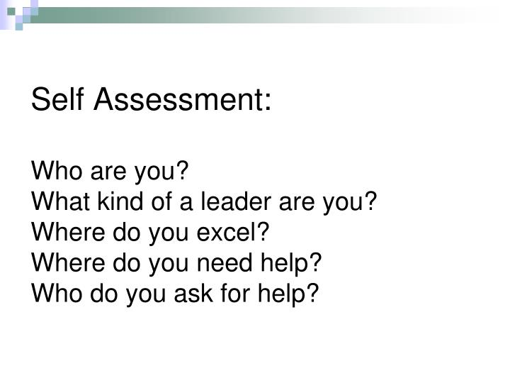 Self Assessment: