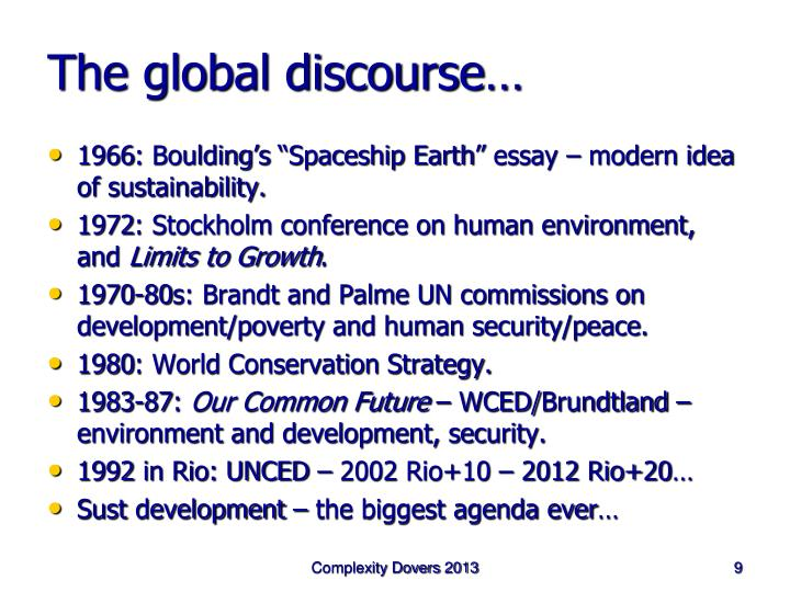 The global discourse…