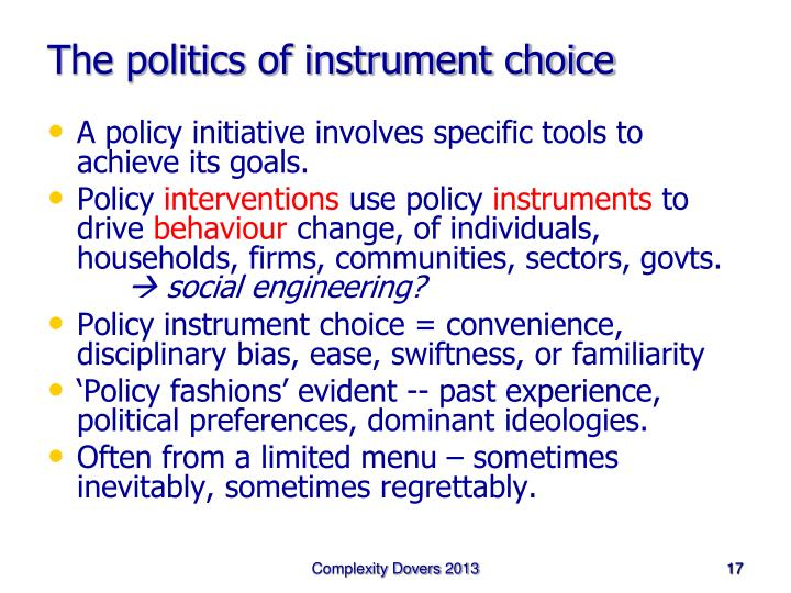 The politics of instrument choice