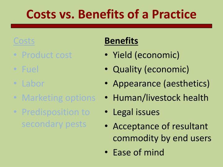 Costs vs. Benefits of a Practice