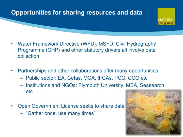 Opportunities for sharing resources and data