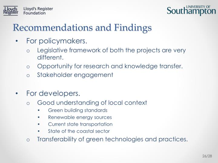 Recommendations and Findings