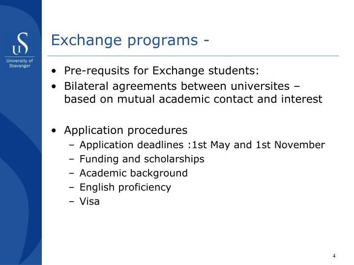 Exchange programs -