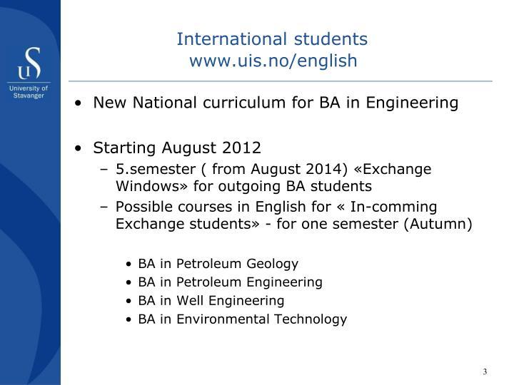 International students www uis no english