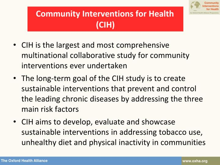 Community interventions for health cih