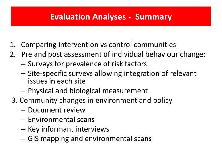 Evaluation Analyses -  Summary