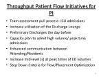 throughput patient flow initiatives for pi