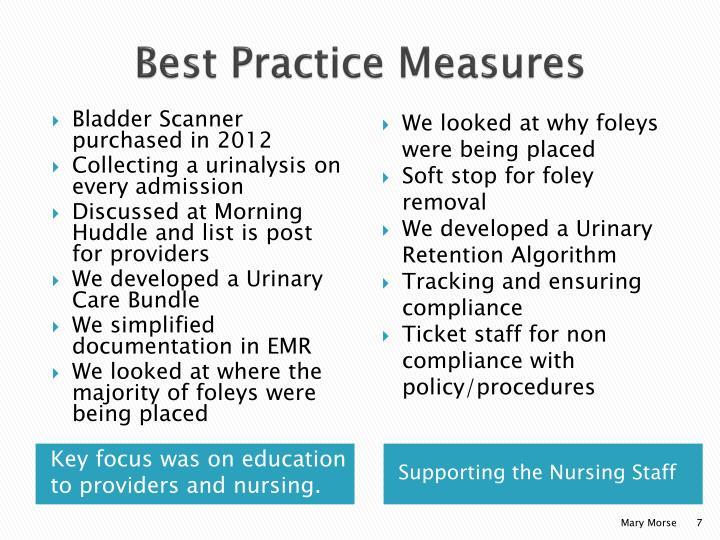 Best Practice Measures