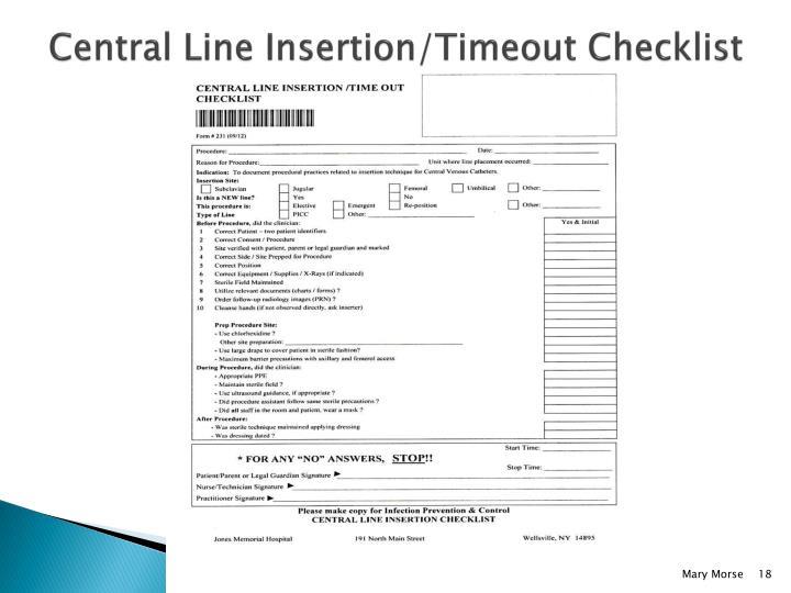 Central Line Insertion/Timeout Checklist