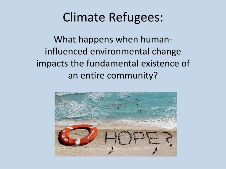 climate refugees n.