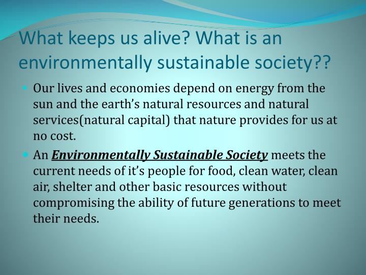 What keeps us alive? What is an environmentally sustainable society??