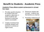 benefit to students academic press