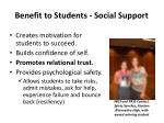 benefit to students social support