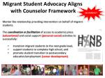 migrant student advocacy aligns with counselor framework