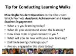 tip for conducting learning walks