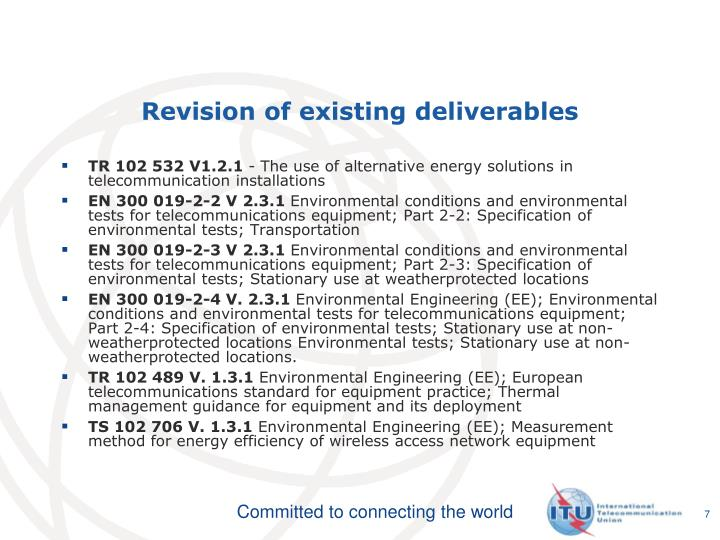 Revision of existing deliverables