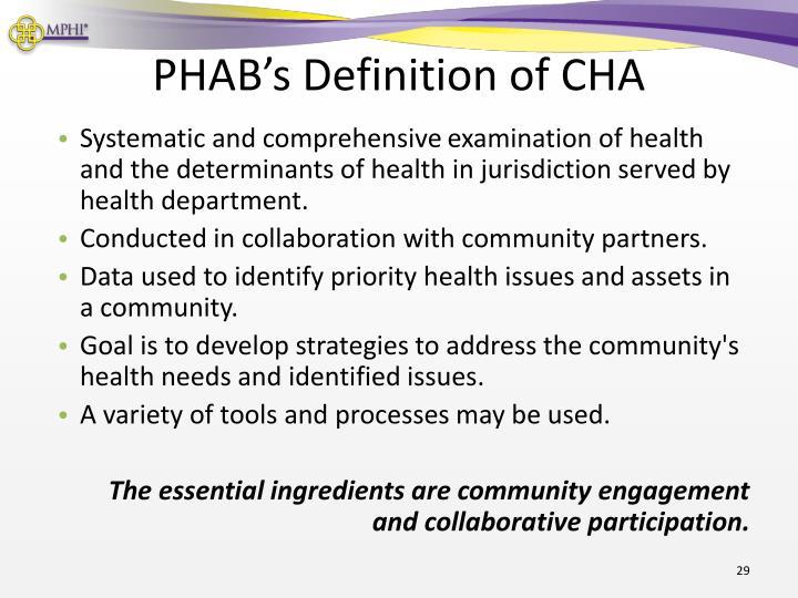 PHAB's Definition of CHA